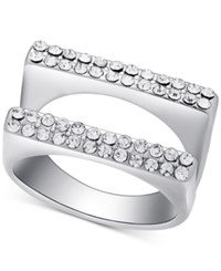 Guess Silver Tone Double Band Pave Statement Ring