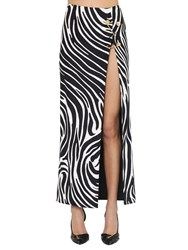 Versace Printed Stretch Jersey Midi Skirt W Pins Black White