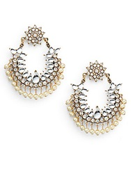 Amrita Singh Jaipur Mumbai Chandelier Hoop Earrings 2 Gold Pearl
