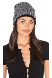 Plush Herringbone Beanie Black And White