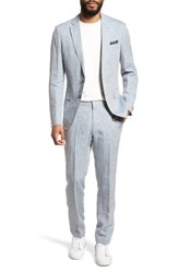 Boss Helford Gander Trim Fit Solid Linen Suit Light Blue