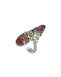 John Hardy Silver Feather Lava Sapphire Gradient Bypass Ring Multi