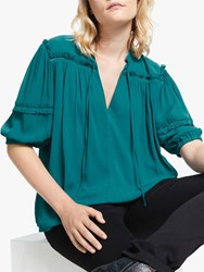 And Or Prarie Tie Neck Blouse Shaded Spruce