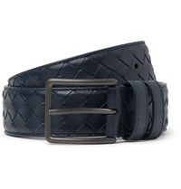 Bottega Veneta 3.5Cm Blue Intrecciato Leather Belt Blue