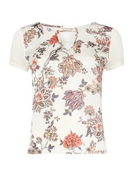 Salsa Short Sleeve Floral T Shirt With Cut Out V Neck Multi Coloured Multi Coloured