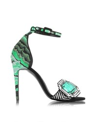 Pierre Hardy Mega Gem Green Leather And Haircalf Sandal