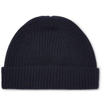 A.P.C. Paul Ribbed Wool And Cashmere Blend Beanie Navy