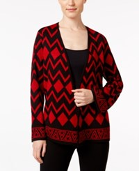 Alfred Dunner Open Front Cardigan Red Black