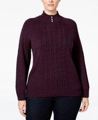Karen Scott Plus Size Cable Knit Mock Neck Sweater Only At Macy's Purple Dynasty Marl