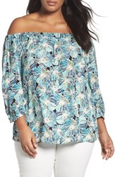 Sejour Plus Size Women's Off The Shoulder Blouse Black Teal Floral