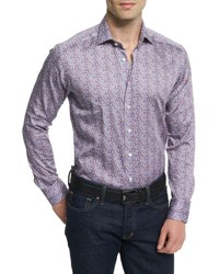 Etro Paisley Print Long Sleeve Sport Shirt Multicolored