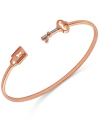 Macy's Diamond Accent Lock And Key Cuff Bracelet In Rose Gold Plated Sterling Silver