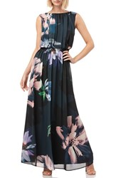 Kay Unger Floral Print Chiffon Gown Black Multi
