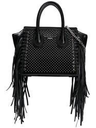 Balmain Fringed Studded Tote Bag Black