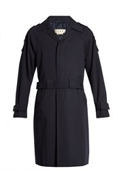 Marni Double Belt Wool Trench Coat Navy