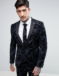 Noose And Monkey Skinny Tuxedo Jacket In Flocked Floral With Stretch Grey