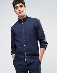 Bellfield Shirt In Washed Cotton In Regular Fit Navy