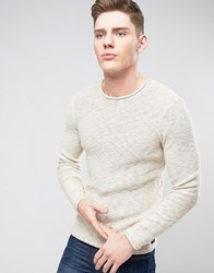 Only And Sons Knitted Sweater In Loose Knit Raw Hem Cream