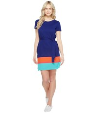 Lacoste Short Sleeve Pique Color Block T Shirt Dress Ocean Sirop Pink Pumpkin Bermuda 08H Women's Dress Blue