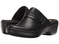 Clarks Delana Amber Black Leather Clog Shoes