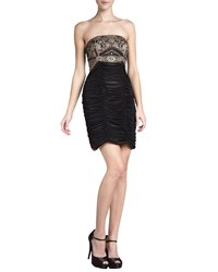 Sue Wong Strapless Beaded And Ruched Cocktail Dress Black Gold