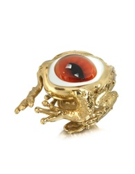 Bernard Delettrez Bronze Frog Ring With Eye Gold