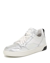 Via Spiga Lowrie Metallic Leather Mid Top Sneakers Silver