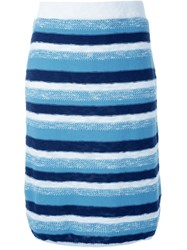 Loveless Striped Knit Skirt Blue