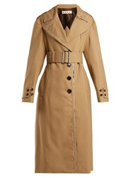 Marni Belted Wool Trench Coat Beige Multi