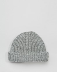 Asos Chunky Ribbed Fisherman Beanie In Grey Grey