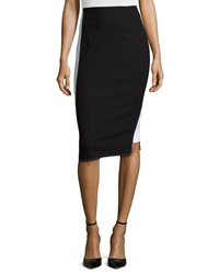 Zac Posen Colorblock Pencil Skirt Black White