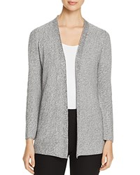 Eileen Fisher Marled Knit Open Front Cardigan Silver