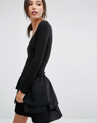 French Connection Tommy Rib Mini Dress With Ruffle Skirt Black