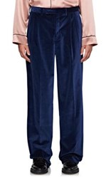 Burberry X Barneys New York Men's Cotton Velvet Wide Leg Trousers Blue