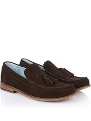 Grenson Grayson Suede Loafers Chocolate