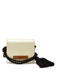 Hillier Bartley Mini Leather Satchel With Black Tassel Cord Gold