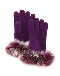 Sofia Cashmere Cashmere Tech Gloves W Fox Fur Cuff Eggplant
