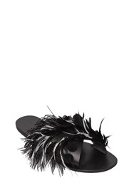 Gia Couture 10Mm Feathers And Pompom Leather Sandals