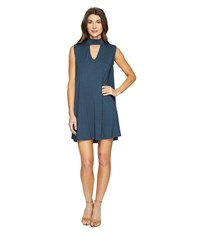 Culture Phit Ashlynn High Neck Dress Teal Women's Dress Blue