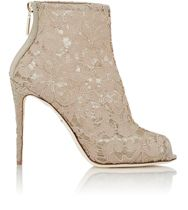 Dolce And Gabbana Lace Peep Toe Booties Nude
