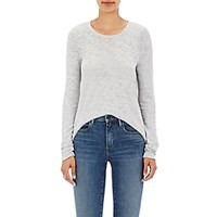 Atm Anthony Thomas Melillo Women's Distressed Cotton Blend Long Sleeve T Shirt Light Grey