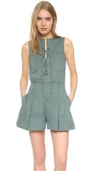 Derek Lam Lace Up Romper Army
