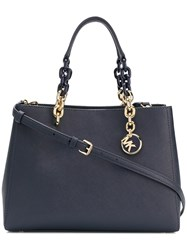 Michael Kors Collection Cynthia Saffiano Leather Satchel Blue