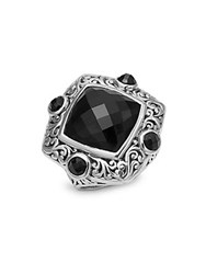 Lois Hill Onyx Square Ring Silver