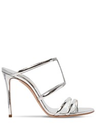 Casadei 100Mm Metallic Leather Mules Silver