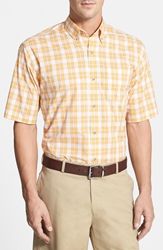 Cutter And Buck 'Genesee Check' Classic Fit Short Sleeve Sport Shirt Goldfinch Orange