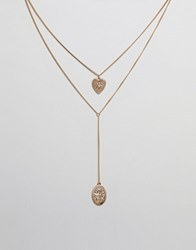 Missguided Multi Row Coin Plunge Necklace Gold
