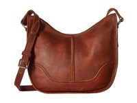 Frye Cara Saddle Cognac Washed Oiled Vintage Hobo Handbags Brown
