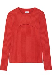 Frame Cutout Ribbed Merino Wool Blend Sweater Tomato Red