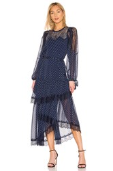 Bcbgmaxazria Lace Tiered Dress Navy